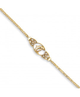 14k Polished Dolphin Anklet