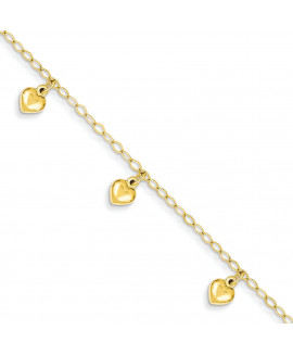 14K Child's Puffed Heart Charm Bracelet