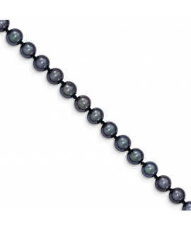 14k 5-6mm Black FW Cultured Near Round Pearl Necklace