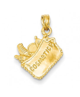 14k Satin 3-Dimensional Cosmetic Pouch Pendant