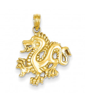 14k Solid Polished Dragon Pendant