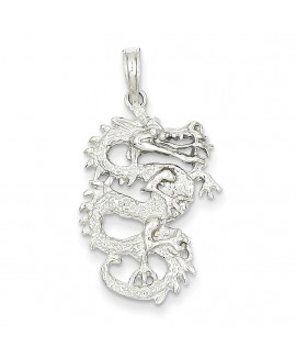 14k White Gold 3-D Dragon Pendant