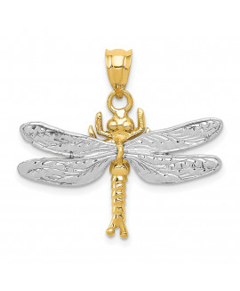 14k Two-tone Dragonfly Pendant