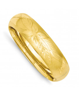 14k 11/16 Florentine Engraved Hinged Bangle Bracelet