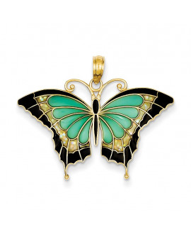 14K Aqua Stained Glass Wings Butterfly Pendant with Acrylic