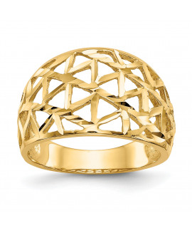14K Diamond-cut Triangle Cut-out Pattern Dome Ring