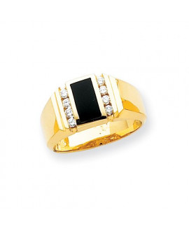 14k Flat Top Polished Complete Mens Diamond And Onyx Ring