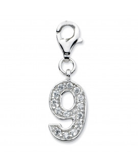 Sterling Silver CZ Numeral 9 w/Lobster Clasp Charm