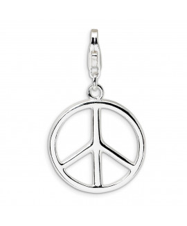 Sterling Silver Large Polished Peace Sign w/Lobster Clasp Charm
