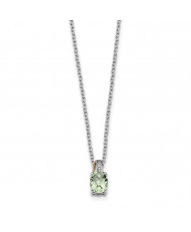Sterling Silver & 14K Green Quartz and Diamond Necklace