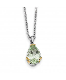 Sterling Silver & 14K Green Quartz Necklace