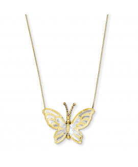 14k Yellow & Rose Gold with Rhodium Butterfly Necklace