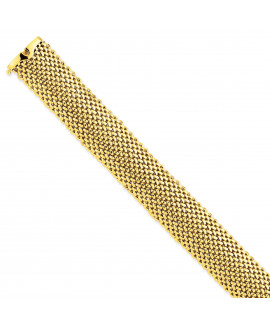 14k 7.25in 18.75mm Polished Mesh Bracelet