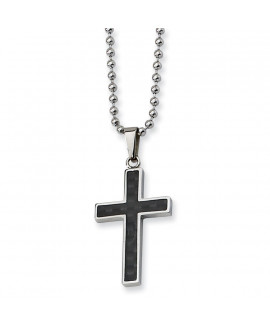 Stainless Steel Polished w/Carbon Fiber Inlay Cross 22in Necklace