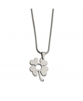 Stainless Steel Four Leaf Clover Pendant 18in Necklace