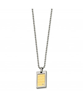 Stainless Steel 18k Gold-plated with .01ct. Diamond 24in Necklace