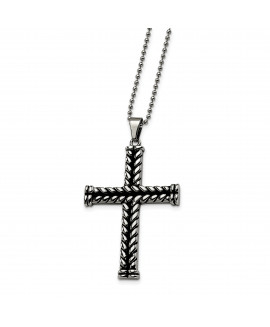 Stainless Steel Black Plated Cross Pendant 22in Necklace