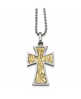 Stainless Steel 14k Accent Cross Pendant Necklace