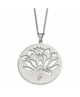 Stainless Steel Flower Cutout Pendant Necklace