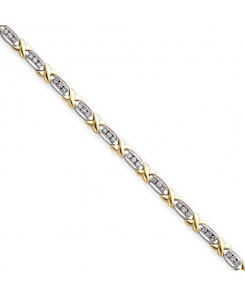 14k Two-Tone Polished A Quality Completed Fancy Diamond Tennis Bracelet