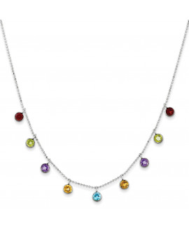 14K White Gold Multi-color Gemstone with 2in ext Necklace