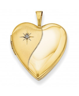 14K 20mm Polished Satin w/ Diamond Heart Locket