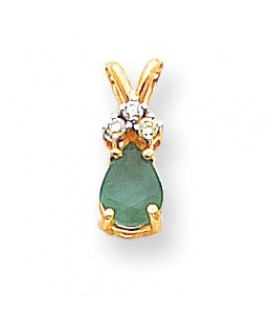 14k 7x5mm Pear Emerald AAA Diamond pendant