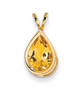 14k 10x7mm Pear Citrine Checker bezel pendant