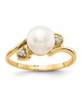 14k Diamond & 7mm Pearl Ring Mounting