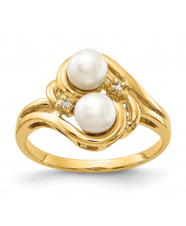 14k 4.5mm Pearl & Diamond Ring Mounting