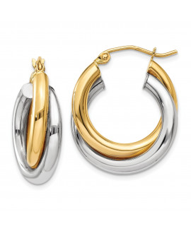 14k Two-tone Polished Double Tube Hoop Earrings