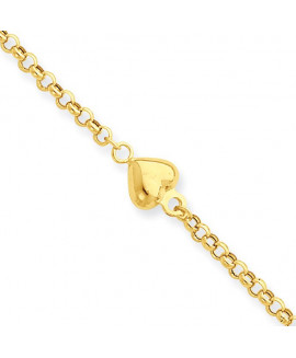 14k Puff Heart 9in with 1in ext Anklet