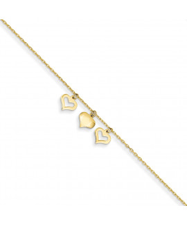 14k 3 Hearts w/1 inch Extension Anklet