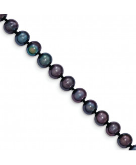 14k 6-7mm Black FW Cultured Near Round Pearl Necklace