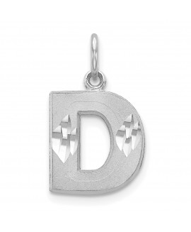 14k White Gold Satin Solid Diamond-cut Initial D Charm
