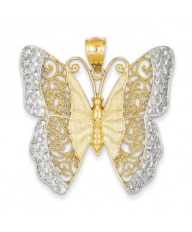 14k & Rhodium Solid Polished Diamond-cut Filigree Butterfly Pendant