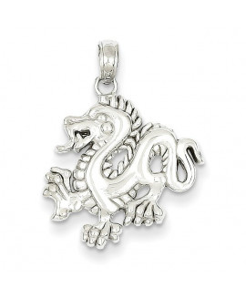 14k White Gold Small Dragon Pendant