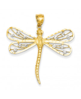 14K Two-tone Diamond-cut Filigree Dragonfly Pendant
