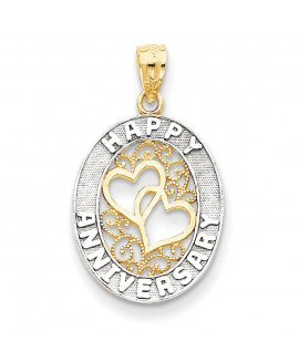 14k & Rhodium Happy Anniversary Hearts Pendant