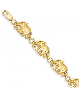 14k 8in Diamond-cut Large Marching Elephants Bracelet