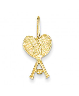 14k Crossed Tennis Racquets with Ball Pendant
