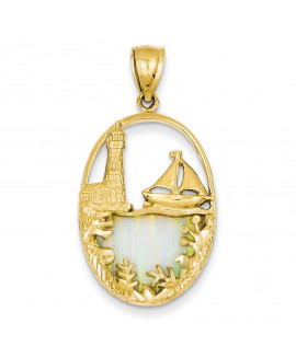 14K Imitation Opal Lighthouse & Sailboat Pendant