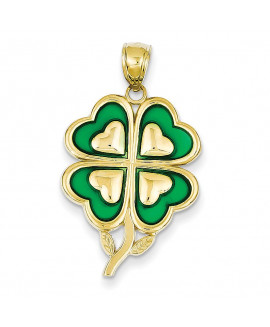 14K 4-Leaf Clover Pendant with Green Acrylic Tips