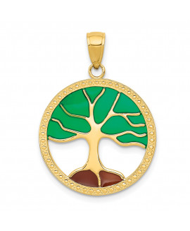14K Enameled Tree of Life Pendant