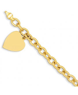 14k 8.5in Polished Engraveable Link with Heart Charm Bracelet