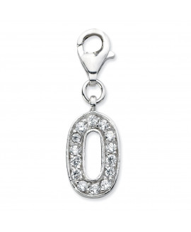 Sterling Silver CZ Numeral 0 w/Lobster Clasp Charm