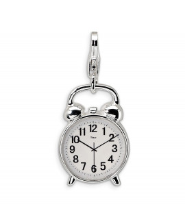 Sterling Silver 3-D Alarm Clock w/Lobster Clasp Charm
