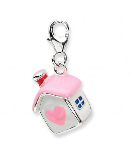 Sterling Silver 3-D Enameled House w/Lobster Clasp Charm
