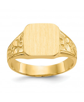 14K Square Satin-top Baby Signet Ring