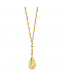 14k Puff Teardrop & Bead Lariat with 2in ext Necklace